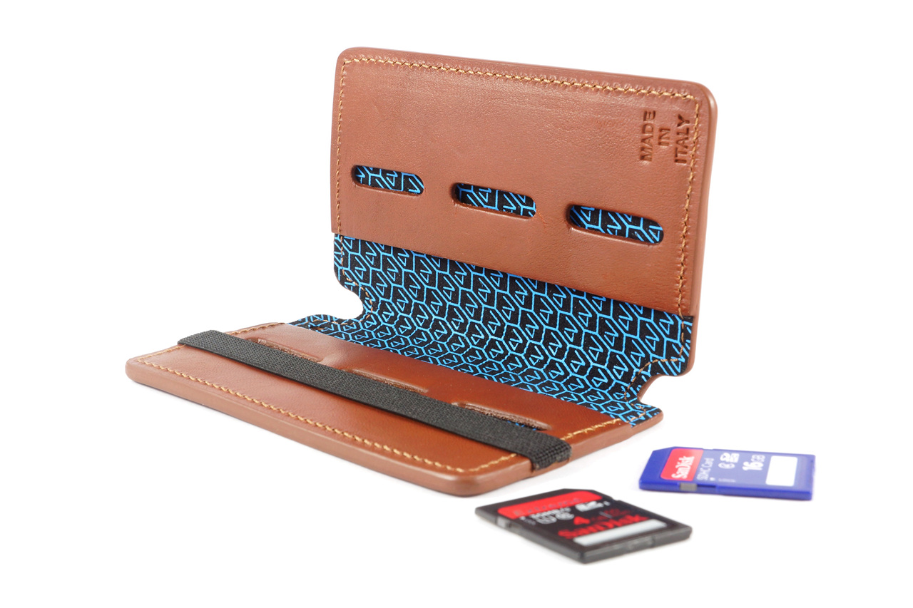4V Design Leather SD Card Holder (WALLY) - Brown/Brown Color