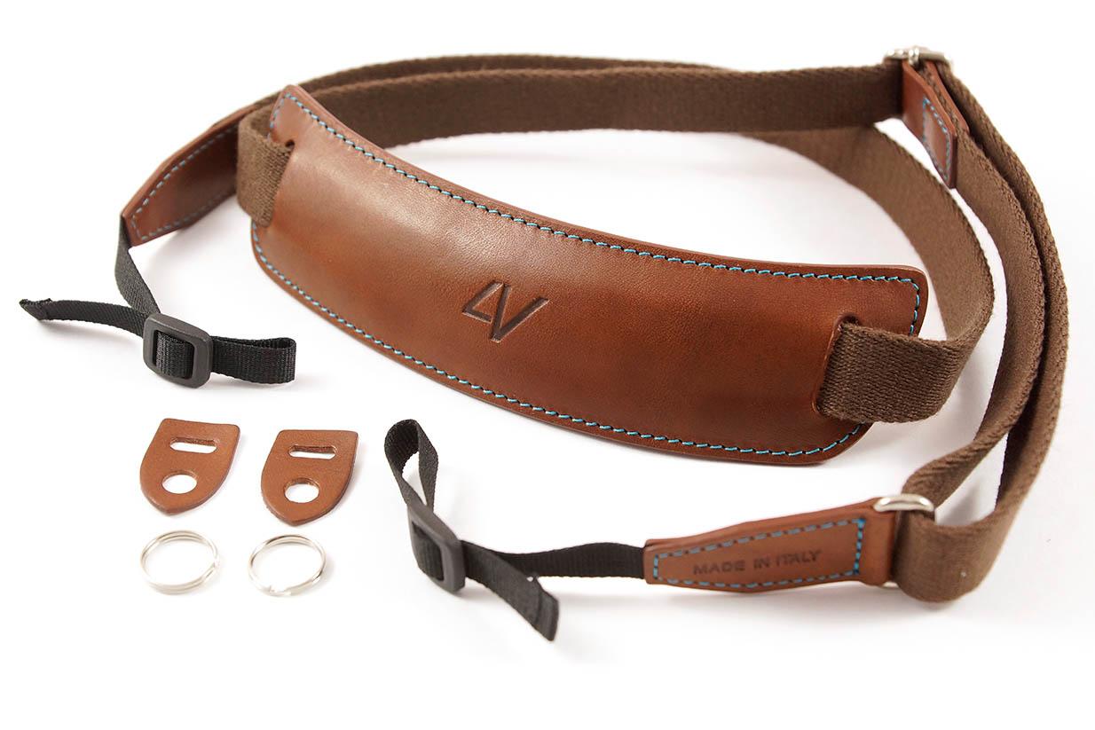 4V Design Camera Neck Strap (LUSSO LARGE) - Brown/Cyan Color