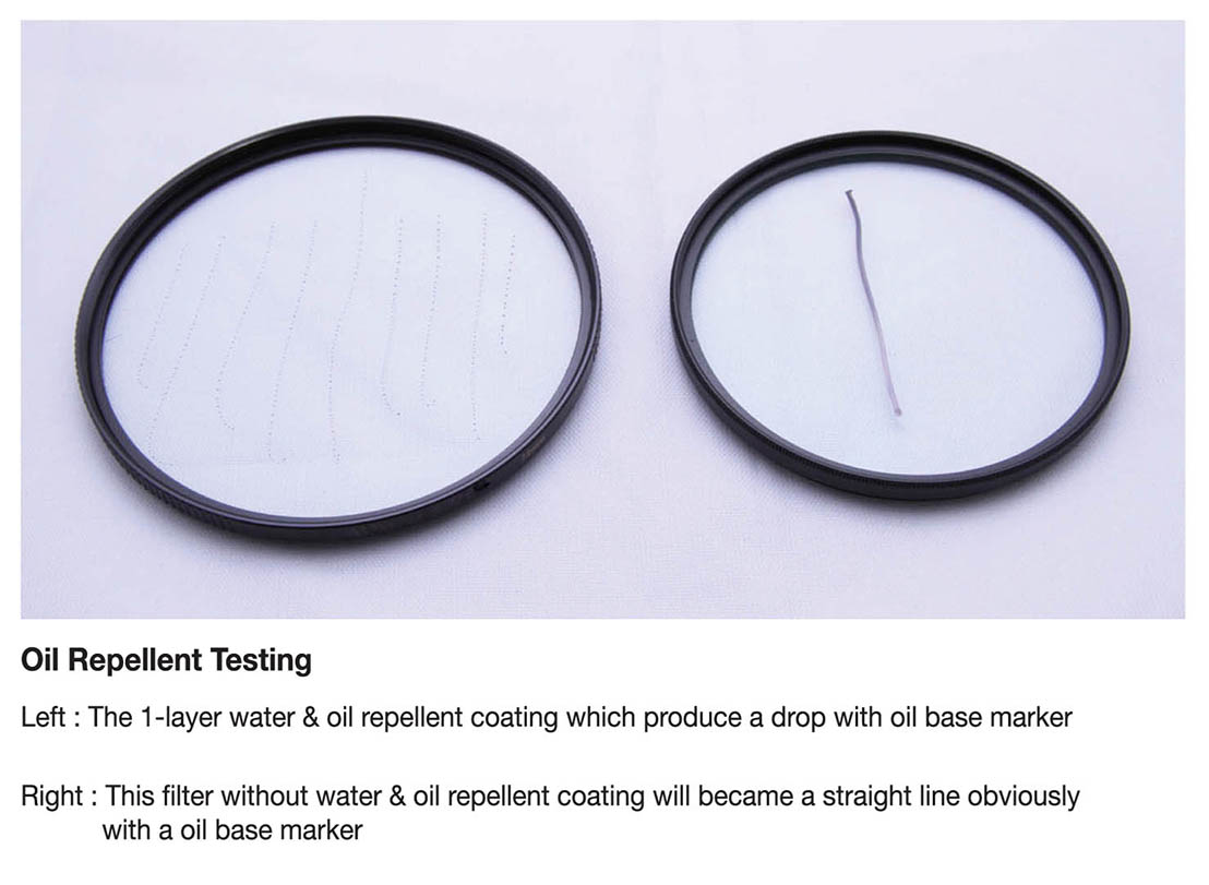 ProTama EX-08 Ultra Slim HD MC UV Filter (Large Size) - Oil Repellent Testing