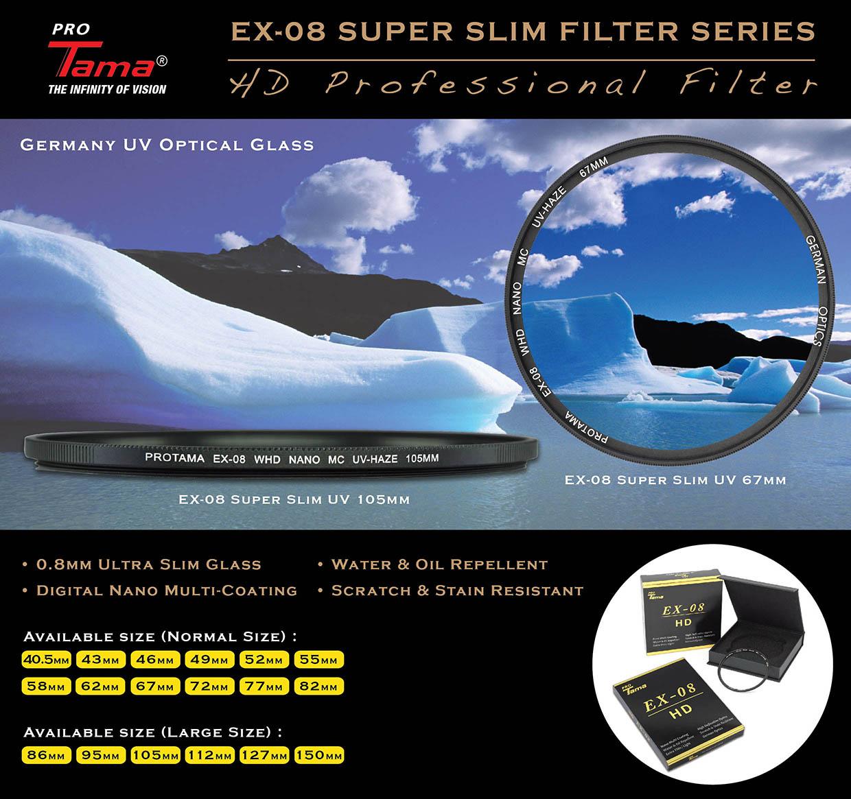 ProTama 天馬 EX-08 超薄高清納米多層鍍膜 MC UV 濾鏡 (大口徑) - 德國光學玻璃材料