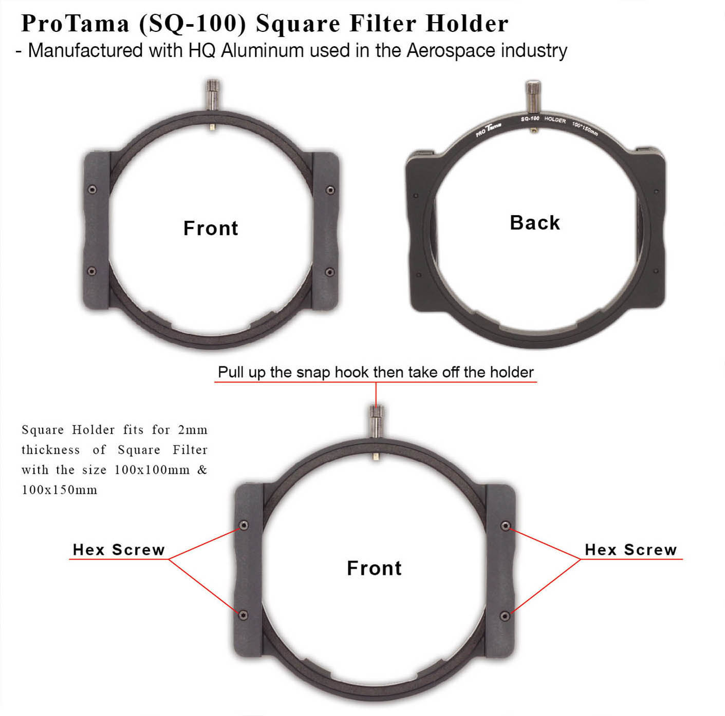 ProTama (SQ-100) Square Filter Holder (For 100x100/100x150mm) - Description