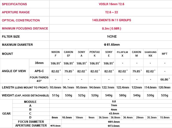 Samyang 16mm T2.6 ED AS UMC Lens - Specifications