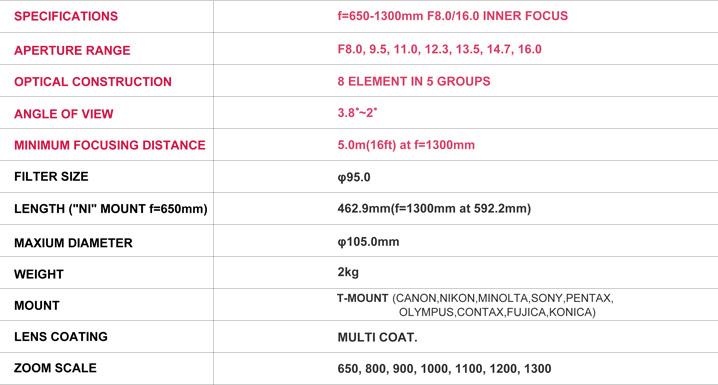 Samyang 森養 650-1300mm MC IF F8-16 長焦鏡頭 - 規格