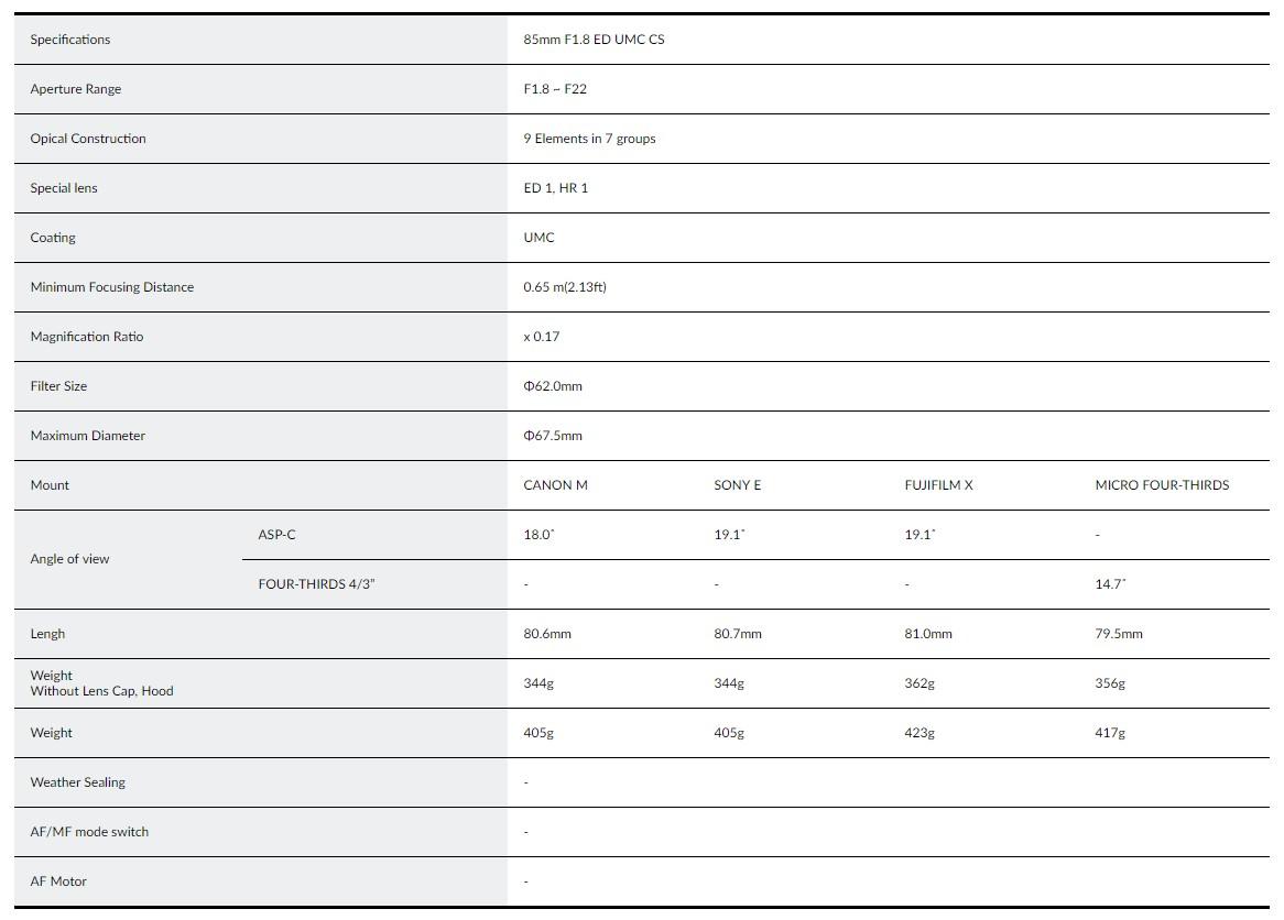 Samyang 85mm F1.8 ED UMC CS Lens - Specifications